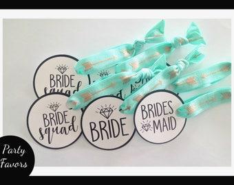 Bride Squad & Bridesmaid Hair Tie Favours | Bachelorette Party Favors | Bridesmaid Gift + Favors | FOE | Fold Over Elastics | Hen Party Gift