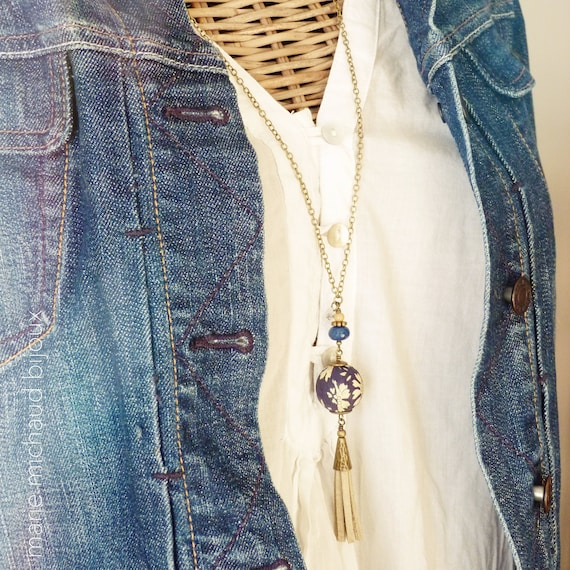 Liberty necklace,Tassel necklace,Long boho necklace,Liberty jewelry,Leather tassel necklace,Long tassel necklace,Blue necklace