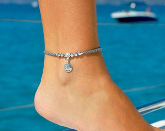 Sand Dollar Ankle Bracelet | Gray Anklet | Sand Dollar Jewelry | Delicate Anklet | Girlfriend Gift | Simple Anklet | Summer Jewelry