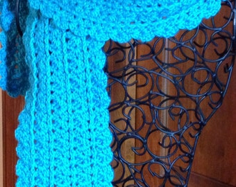 Turquoise Love - Crocheted Scarf