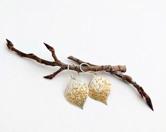 Aspen Leaf Earrings, 24k Gold and Silver, Handmade by JennDixonJewelry