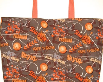 Basketball Novelty Shopping and Tote Bag in Brown and Orange Reversible