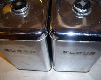Vintage Atomic Mid Century Silver Black Lincoln Beauty Ware Metal Canisters Containers Storage Flour Sugar Set