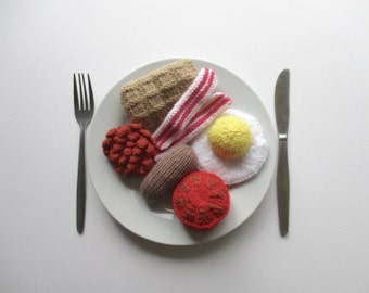 Big breakfast toy food knitting patterns