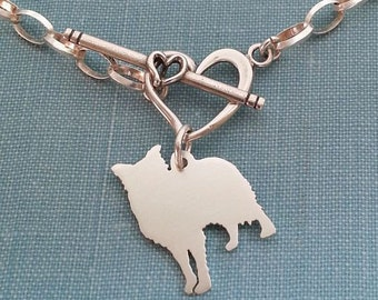 Border Collie Dog Chain Bracelet, Sterling Silver Personalize Pendant, Breed Silhouette Charm, Rescue Shelter, Memory Gift