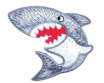 Iron on Sew on Shark motif design. Ideal for clothes embellishment.  H 5.3cm x W 6cm.