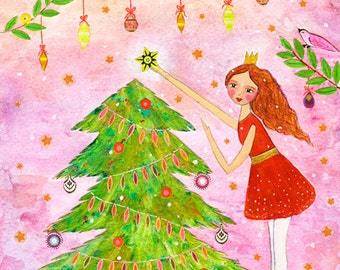 Original Painting, Christmas Tree and Girl, Folk Art Painting, Christmas Gift