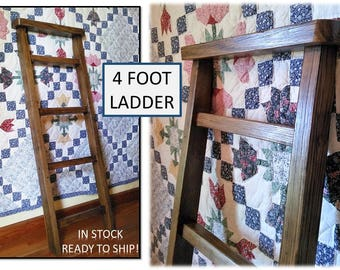 Reclaimed Wood Towel Blanket 4 FOOT Ladder Shelf Bath Kitchen Nursery Leaning Wall Organizer Rustic Cabin Farmhouse Cottage Home Decor Gifts