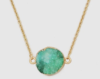 Gold Plated Round Natural Teal Druzy Necklace