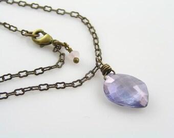 Blue Quartz Necklace, Blue Gemstone Necklace, Gem Jewelry, Gem Necklace, Mystic Quartz Necklace, Solitaire Necklace, Something Blue, N352