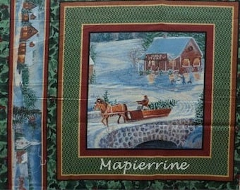 Fabric patchwork/decorating 1 landscape Christmas 1 sticker
