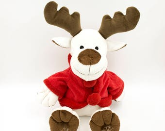 Vintage Swedish white reindeer stuffed animal plushie toy Christmas childrens gift