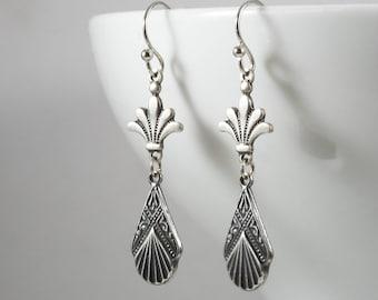 Art Deco Drop Earrings, Sterling Silver Plated Connector, Fleur de lis Earrings, Edwardian Earrings, 1920s, Downton Abbey, Handmade UK Gifts