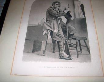 Vintage Gravue Print, Copyrighted 1887 by Gebbie & Co., Joseph Jefferson as Rip Van Winkle