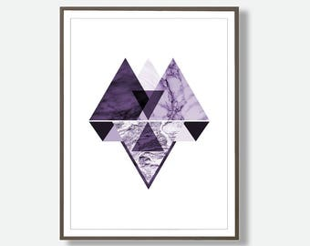 Geometric Prints, Minimalist Art Prints, Black and Purple  Prints, Nordic Wall Prints, Geometric Design, Geometric Poster, Dorm Art, Nursery