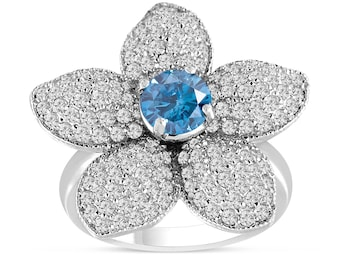 Blue Diamond Flower Engagement Ring, Wedding Ring 2.66 Carat 14K White Gold Handmade Unique