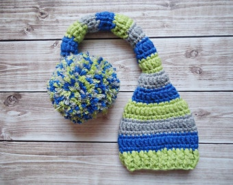 Newborn Elf set, Newborn Elf Hat, Photography Prop, Newborn Photo Prop, Long Tail Hat, Stocking Cap, Newborn Pom Pom Hat, Crochet Baby Hat