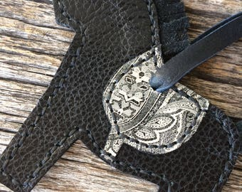 Little Leather Pony No. 4 in Black and White Paisley with Extra Long Deerskin Ties - Purse Charm - by Stacy Leigh