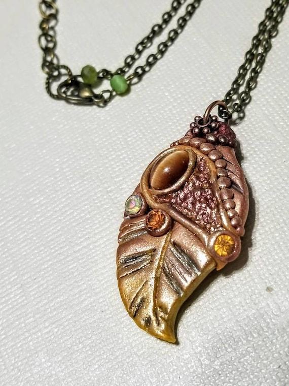 Polymer Clay Statement Necklace - Golden Burgundy Leaf