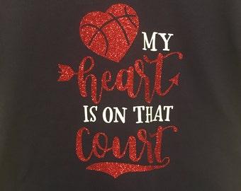 Custom T-Shirt Team Spirit My Heart Is On That Court V Neck