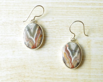 Earth Tone Crazy Lace Agate Earrings // Agate Jewelry // Sterling Silver // Village Silversmith