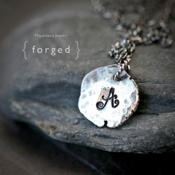 Forged - Ancient Initial Charm Simple Sterling Silver Mecklace