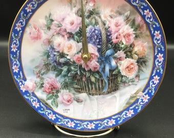 Floral Bouquet Basket Pink Rose Clock Plate !