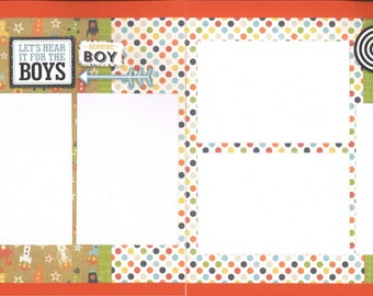 12x12 THE BOYS scrapbook page kit, premade boy scrapbook, 12x12 premade scrapbook page, premade scrapbook pages, 12x12 scrapbook layout