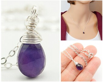 Amethyst Necklace for Women - February Birthstone Necklace - Purple Amethyst Gemstone Jewelry - Sterling Silver - February Birthday Necklace