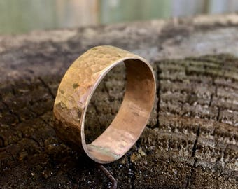 14k gold ring with ball peen hammer texture
