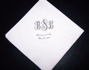 Scroll Monogrammed Wedding Napkins Personalized Set of 100 Napkins with Monogram