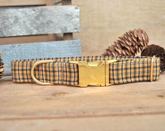 Plaid Dog Collar, Christmas Dog Collar, Yellow Dog Collar, Classic Dog Collar, Male Collar, Female Collar, Gold Metal Buckle