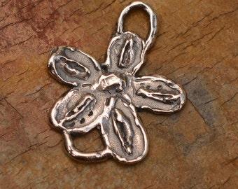 Rustic Flower Link in Sterling Silver, Artisan Flower Charm, FN-444,
