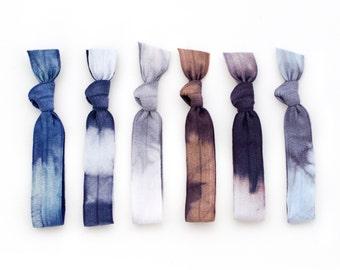 The Cloudburst Tie Dye Hair Tie Package - 6 Elastic Grey Navy Blue Tie Dye Hair Ties that Double as Bracelets by Mane Message on Etsy