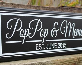 Grandparents sign-gift for grandparents-new grandparents gift-personalized grandparents sign-pop pop and mema-nana & papa gift-wood sign