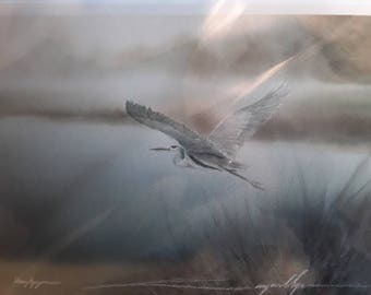 Hung Nguyen Vietnamese artist from Seattle, Great Blue Heron in Flight, Limited edition print, 9 x 13