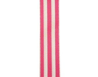 """7/8"""" - Pink Carnival Stripe Grosgrain Ribbon - Pink and White Stripes - Offray"""