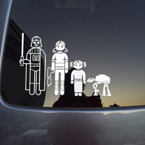 Custom Star Wars Stick Figure family vinyl car decals ~~ FREE US Shipping!  ~~ You choose from 44 characters to create your Star Wars Family.