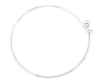 20 pieces - Shiny Silver Colored Expandable Bracelet, diameter of wire 1.5mm, 60mm adjustable wire bangle bracelets