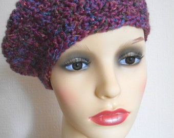 Crochet pink beret, crochet beret, warm hat, chunky hat, Slouchy beret, Women's hats,  Gift for her