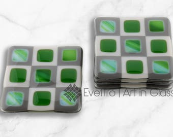 Jade and Lagoon Green Retro Squares Fused Glass Coasters, Set of 4