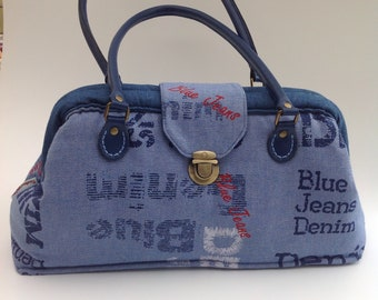 Spring Sale Event - Now 10% Discount - Handmade Mary Poppins Style Handbag in Blue Denim Fabrics