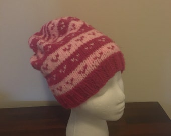 Warm hand knit slouchy hat