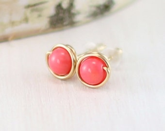 Pink Coral Earrings, 14k Gold Filled Coral Stud Earrings Yellow Gold Wire Wrapped Coral Jewelry Post Earrings