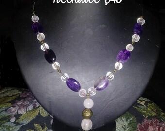 Amethyst and Rose Quartz Necklace, Handmade