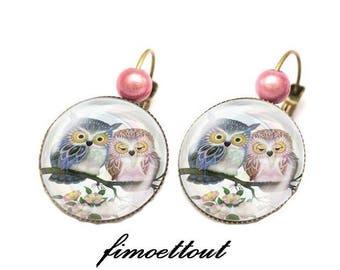 designer jewelry, earring, glass cabochon, romantic owl, OWL couple