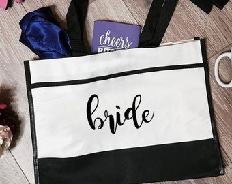 Bride Trim Tote Bag | Bride Tote Bag | Bridal Tote Bag | Bride Totes | Bridal Tote Bag | Bachelorette Totes | Bachelorette Party Tote Bags