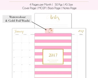 Gold & Pink Foil 2017 Monthly Planner Pages | Month on 2 Pages | A5 Inserts | 2017 Diary | 12 month | Planner Refill | 2017 calendar | MO2P