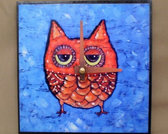 Orange Owl Clock,Woodland, Whimsical Clock, Bird, Functional Art, Owl, size 6 x 6 inches