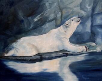 Polar Bear Praying Original 11x14 inch Oil Painting
